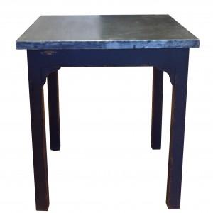 Table AUBAINE Carrée 70*70*H76 / Plateau Zinc rembordé et piètement en bois – 4 Pieds