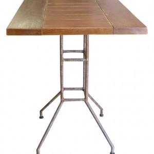 Table BRASSERIE chêne CIRE 70*60 * H 76 / piètement Métal tubulaire