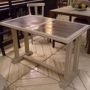Table BISTROT DU PORT 120*70*76 – 2 Inserts de Zinc – Piètement avec traverse Bois