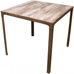 Table EIFFEL Carrée – Dimensions 70*70 *h76 Version Couleur – Melèze patiné  – Pieds métal patiné façon Rouille avec rivets