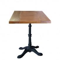 "Table COGNAC Plat. chêne SATINE 70*60 * H 76 / piètement Fonte type ""Bistrot"""