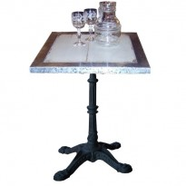"Table ARMAGNAC 60*60 *H76 /Plat Patiné+Bord Zinc /piètement Fonte type ""Bistrot"