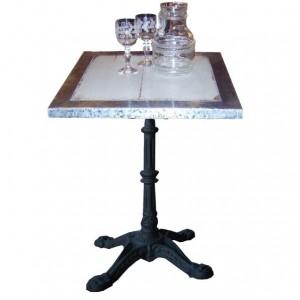 """Table ARMAGNAC 60*60 *H76 /Plat Patiné+Bord Zinc /piètement Fonte type """"Bistrot"""