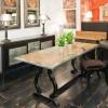 Table DIANE Plateau Chêne L.180 CM/ Dimensions 180 x 90 x 76 -Bordé Zinc +cercle Zinc