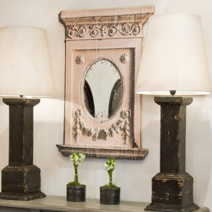 Miroir fenelon motif en trompe l oeil n b dimensions 100 x 70 provence et fils - Miroir trompe l oeil ...