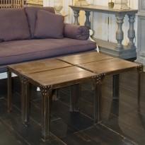 Combiné de 4 Tables Basses EIFFEL 60*40 chaque / Pl.chêne Plaqué-Pieds  métal + Rive