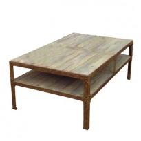 Grande Table Basse EIFFEL130*80*50 /Struct. Métal riveté / Plateau Patiné