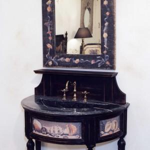 Salle de Bains COQUILLAGES / Décors sur toile / Vasque céramique incluse / Livré Sans Robinetterie