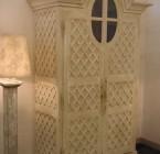 Armoire GRENIER Version Etagères avec 3 tiroirs décor claustra 142*60*240