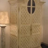 Armoire GRENIER Version Etagères avec 3 tiroirs décor toile de Jouy 142*60*240