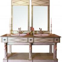 Ensemble de Salle de Bains THERMES avec Trumeau /2 Vasques céramique incluses /Livré Sans Robinetterie