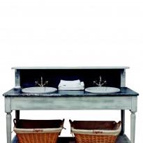 Salle de Bains DRAPIERE 160*60*108  Dessus zinc /2 Vasques céramique incluses /Livré Sans Robinetterie