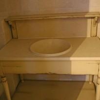 Salle de Bains DRAPIERE Simple Vasque 110*60*108 dessus MARBRE & 1 Vasque céramique incluse / Livré Sans Robinetterie