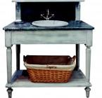 Salle de Bains DRAPIERE Simple  110*60*108 -dessus ZINC Martelé & 1 Vasque céramique incluse /Livré Sans Robinetterie