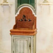 Lave mains CHENONCEAUX Vasque et Fronton Marbre + Miroir vieilli  / Livré Sans Robinetterie