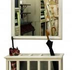 Meuble PORTE-PARAPLUIES/ -Fond Zinc- Structure Patinée+Patères avec Miroir
