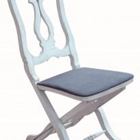 Chaise GUSTAVIENNE – Pliante – Assise Bois et coussin