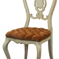 Chaise CAMEE – Esprit Vénitien – Dossier à palmette ajourée -Assise rembourée