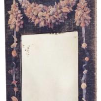 Trumeau 'COQUILLAGES'/toile NOIRE avec Motif Coquillages / Miroir à l'ancienne