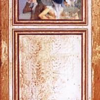 Trumeau SCENE DE VIE toile de lin  – motif floraux Toile Terracotta