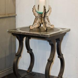 Table d'appoint  DIANE 60*60* H76 -Plateau bois rembordé en zinc + motif central zinc