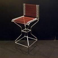 Chaise de Bar SANDOW – Chaise nickelée avec assise et dossier en sandows