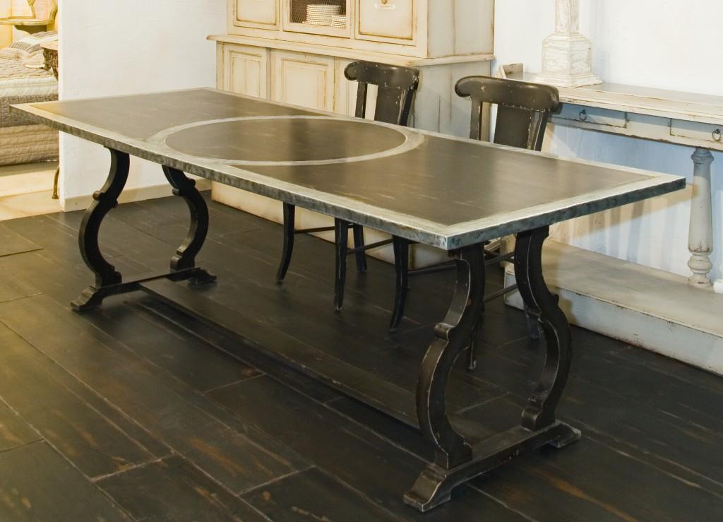 table diane 240 x 90 x 76 plateau bois rembord en zinc provence et fils. Black Bedroom Furniture Sets. Home Design Ideas