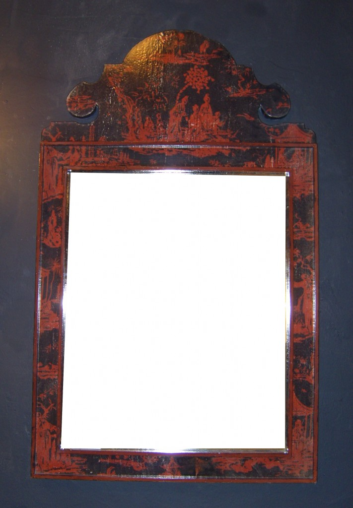 miroir montesquieu chinoiseries structure motifs rouges sur fond noir cadre noir provence et fils. Black Bedroom Furniture Sets. Home Design Ideas
