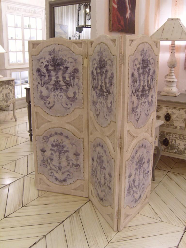 paravent orangerie gm grisaille 149 56 3 vantaux avec cannage toile provence et fils. Black Bedroom Furniture Sets. Home Design Ideas