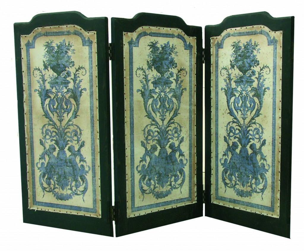 paravent cherubins pm 118 61 3 vantaux cache tv coloris de toile naturel provence et fils. Black Bedroom Furniture Sets. Home Design Ideas