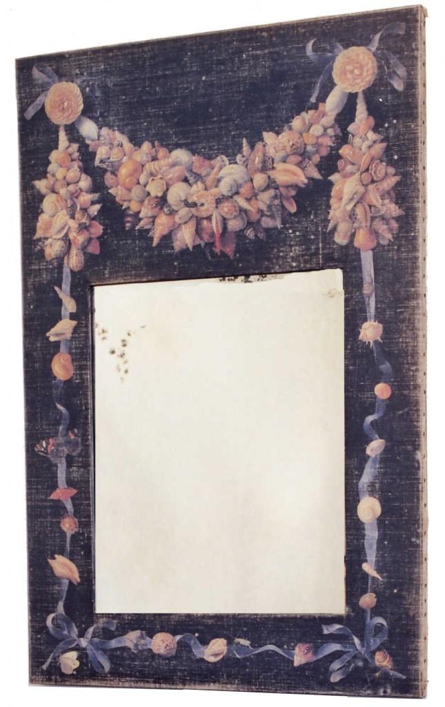 trumeau coquillages toile noire avec motif coquillages miroir l ancienne provence et fils. Black Bedroom Furniture Sets. Home Design Ideas