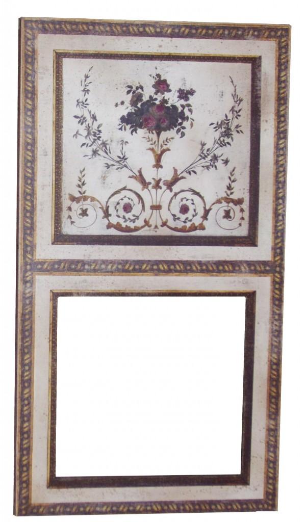trumeau bouquet toile beige veilli avec motifs floraux miroir l ancienne provence et fils. Black Bedroom Furniture Sets. Home Design Ideas