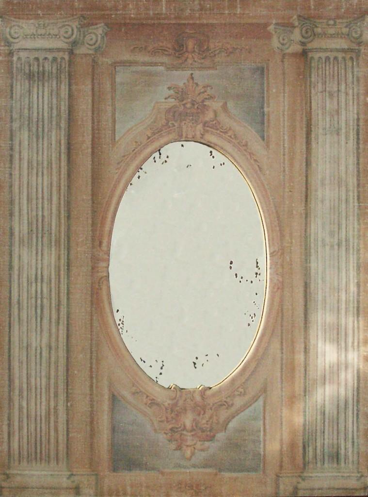 trumeau colonnades toile beige ros avec motifs colonnes miroir l ancienne provence et fils. Black Bedroom Furniture Sets. Home Design Ideas