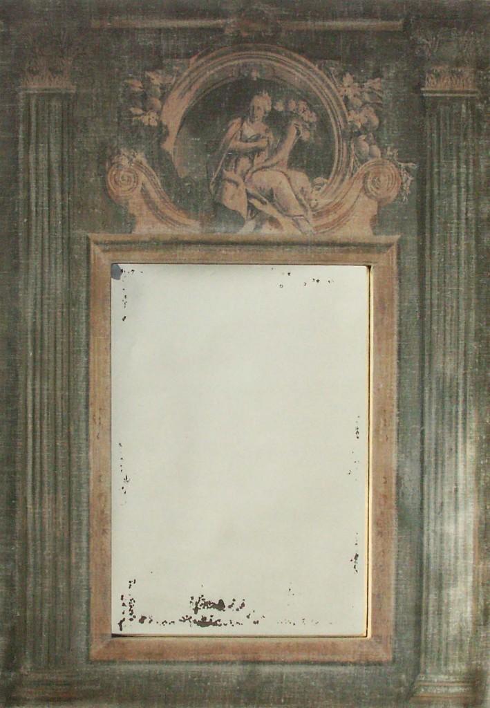 Trumeau palazzo toile gris vert avec motif for Miroir trumeau